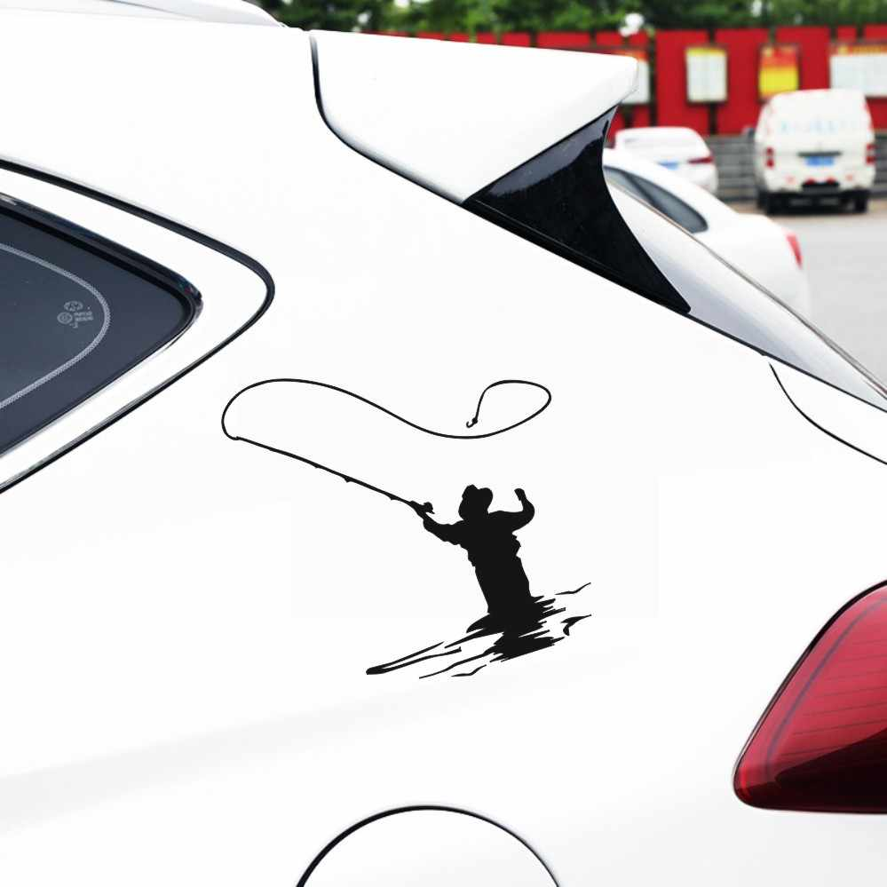 Tancredy sinek balıkçılık Sticker araba çıkartması eğlenceli balıkçılık araba Styling dekorasyon kapı vücut pencere vinil çıkartmalar 11.9CM * 13.2CM
