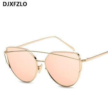 New Fashion Cat Eye Sunglasses Women Luxury Brand Design Mirror Lens Vintage Sun Glasses Rose Gold Metal UV400 oculos