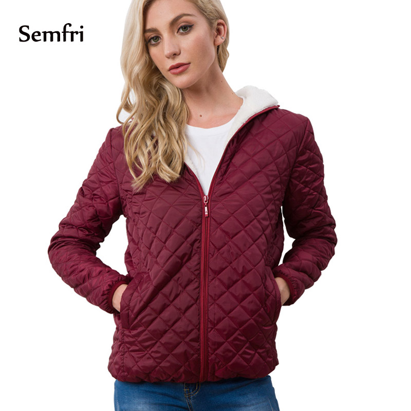 Semfri Autumn New   Basic     Jackets   Female Women Winter Plus Velvet Lamb Hooded Coats Cotton Winter   Jacket   Womens Outwear Coat