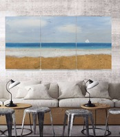 3 Panels Canvas Seascape Wall Art Picture Home Decoration Living Room Hand Painted Painting For Living Room Decor Unframed