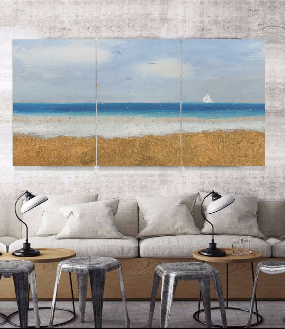 3 Platten Leinwand Seascape Wandkunst Bild Home Decoration Wohnzimmer Handgemalte Gemälde Für Wohnzimmer Decor Unframed