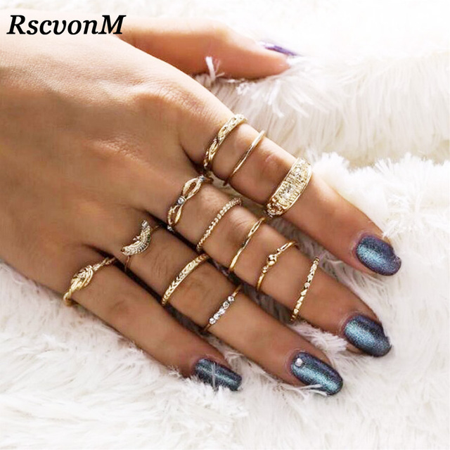 RscvonM 12 pc/set Charm Gold Color Midi Finger Ring Set for Women Vintage Boho K