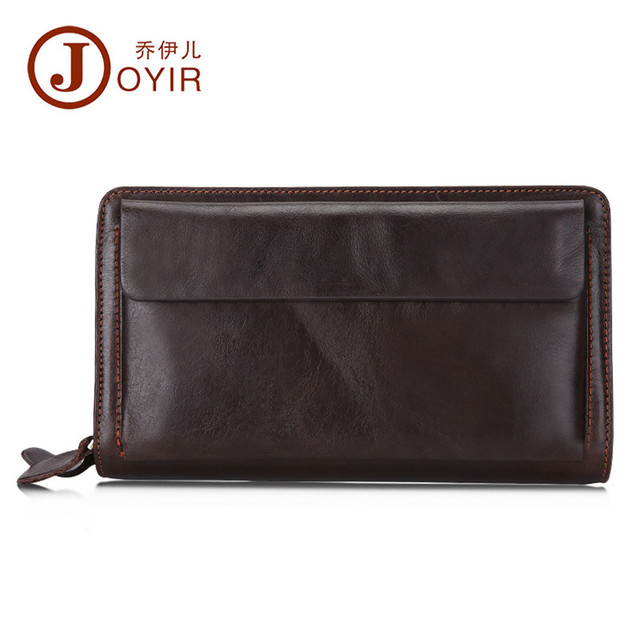 JOYIR Men Genuine Leather Wallet Long Double Zipper Wallet Male Wallets Handbag Male Clutch Bag Coin Purse Money Card Holder9370