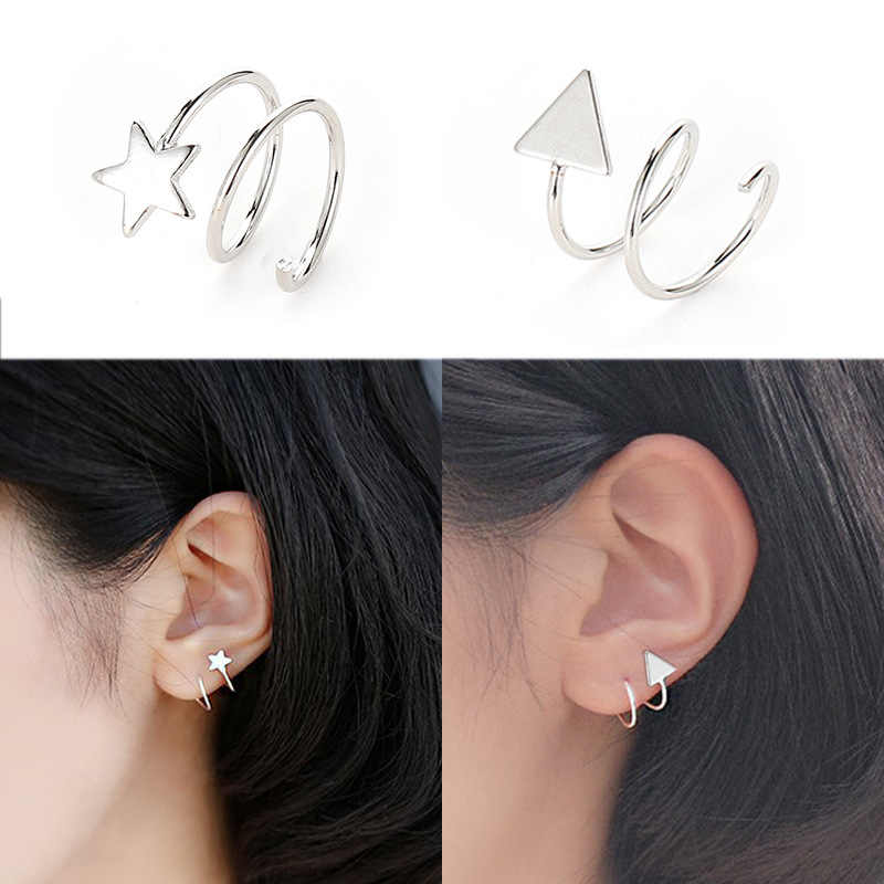 Cute Lovely Star Triangle Silver Color Stud Earrings Fashion Simple Lines Jewelry Earrings For Women Wholesale Brincos Oorbellen