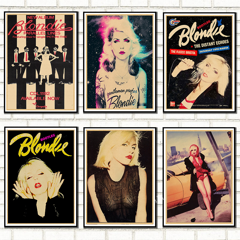 BLONDIE DEBBIE HARRY rock band Kraft retro punk rock poster European and American music team star drawing retro poster image