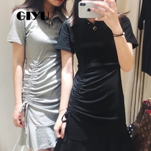 GIYU Turn-down Women Polo Dress Ruffles Dresses Short Sleeve Mini Vestido Sexy Solid Slim Empire  robe femme giyu women shirt dress with sash turn down collar dresses pocket vestido casual office lady empire robe femme