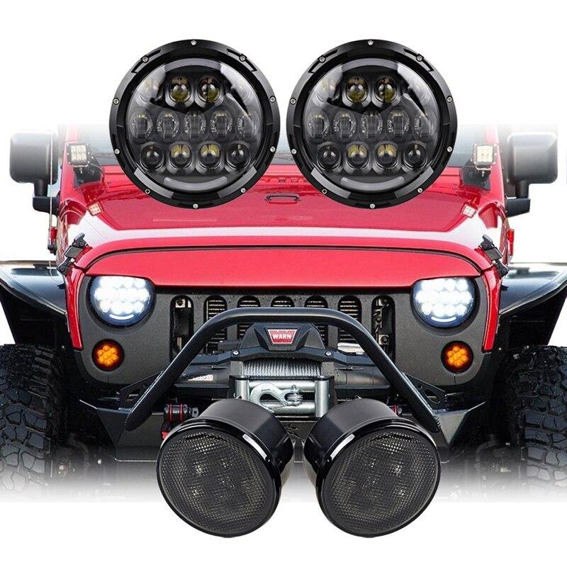 Пара 105 Вт 7 дюймов круглый светодиодный фары + 2 шт. дым сигнала поворота света для 2007-2016 Jeep Вранглер JK