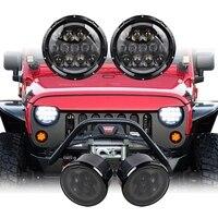 Pair 105W 7 Inch Round LED Headlight 2pcs Smoke Turn Signal Light For Jeep Wrangler JK
