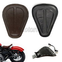Motorcyle Black Gold Leather Solo Seat Brackets Spring for Harley Fatboy Sportster Softail Sportster XL1200 XL883 48 2004 04