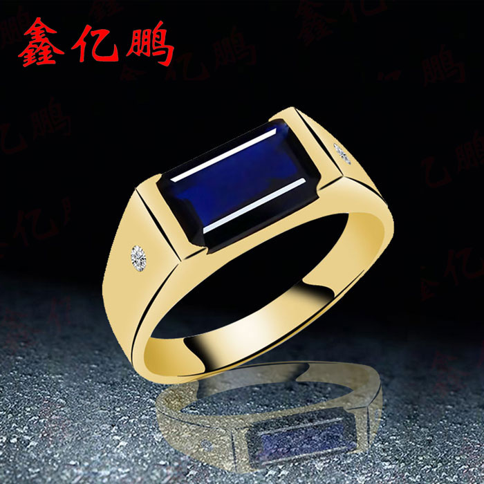 18 k gold inlaid natural sapphire ring Men and women style simple fashion With diamond one piece simple gold plated fashion alloy rhinestone ring for men