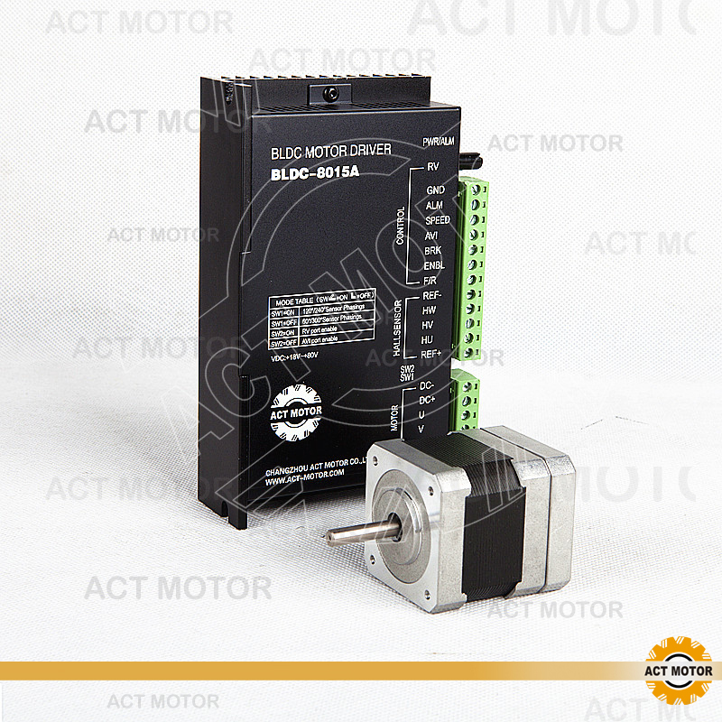 ACT Motor 1PC Nema17 Brushless DC Motor 42BLF01 24V 26W 4000RPM 3Phase  Single Shaft + 1PC Driver BLDC-8015A 24-50V CNC Router bldc motor driver controller 120w 12v 30v dc brushless motor driver bld 120a