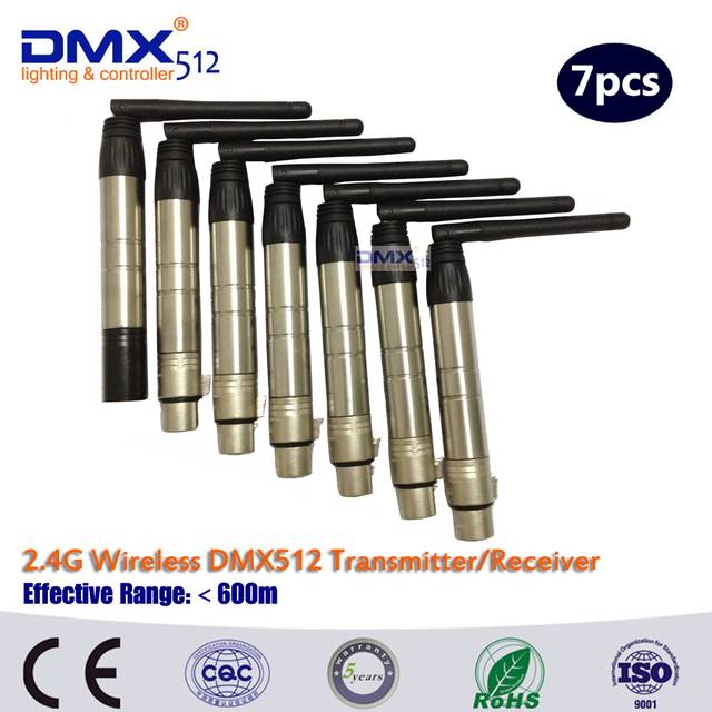 Free Shipping  7pcs Wireless DMX512 Broadcast DFI DMX512 wireless Receiver & Transmitter DMX wireless kit for stage light