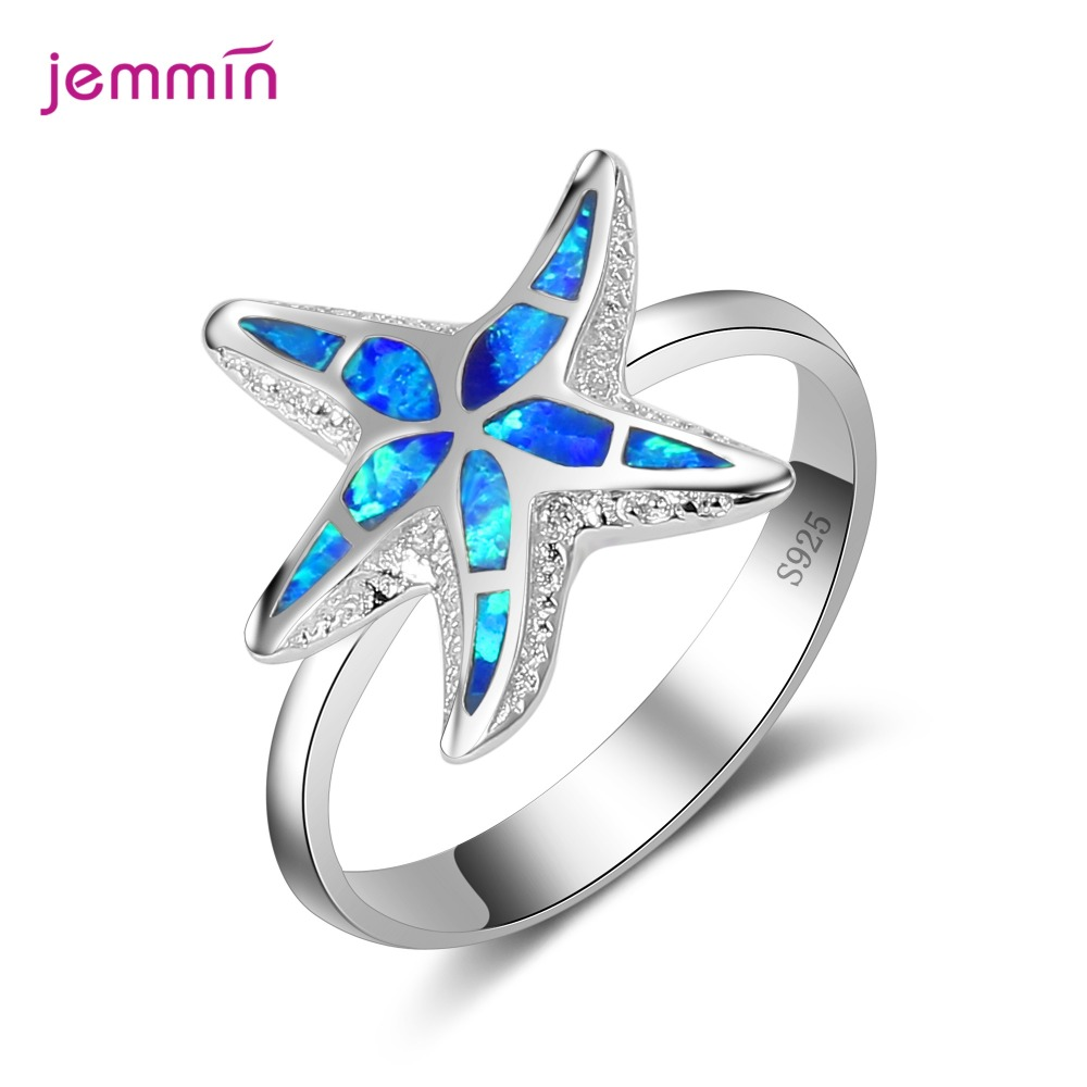 Fashion Design Starfish Pattern New Tide Blue Rire Opal Ring For Women Girl Pure 925 Sterling Silver Jewelry Stylish Ring