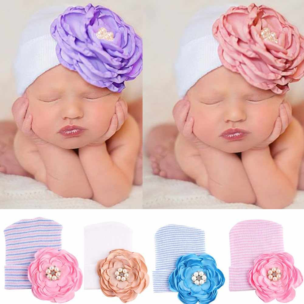 Newborn baby hat Toddler Baby Warm Hat Striped Caps Soft Hospital Girls Hats Bow Beanies for Newborn 0-3M KIDS CAP