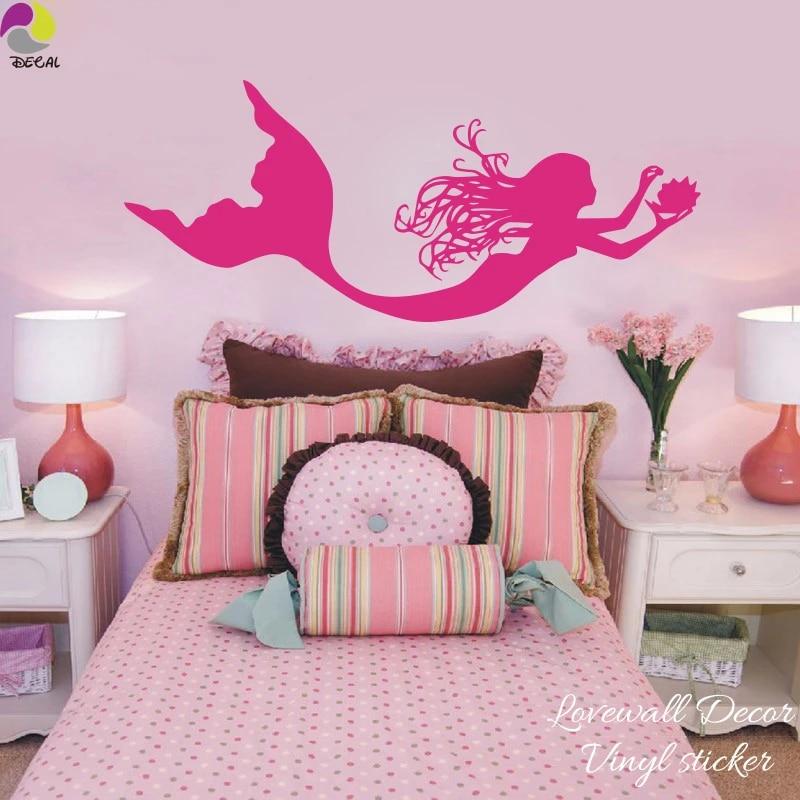 Mignon Ocean Sirene Autocollant Mural Chambre Bebe Pepiniere Dessin Anime Coquille Mer Plage Nymphe Fille Mur Decalque Canape Salle De Bains Vinyle Decor Aliexpress