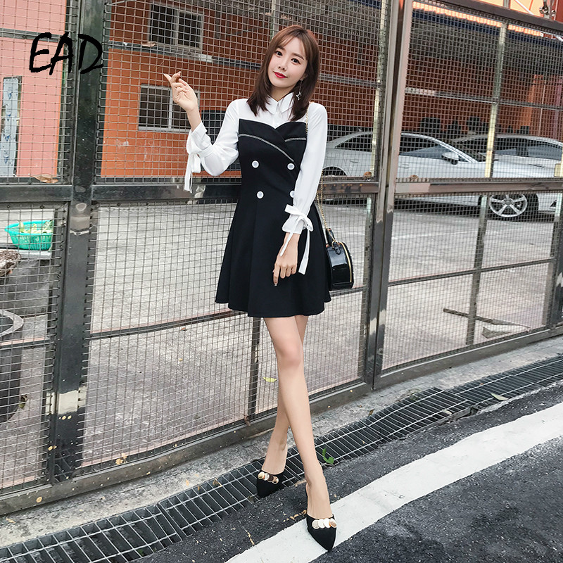 EAD Vintage Patchwork Balck and White Button Shirt Dress Women Spring Elegant Turn Down Collar Bow Sleeve Dresses Female Vestido