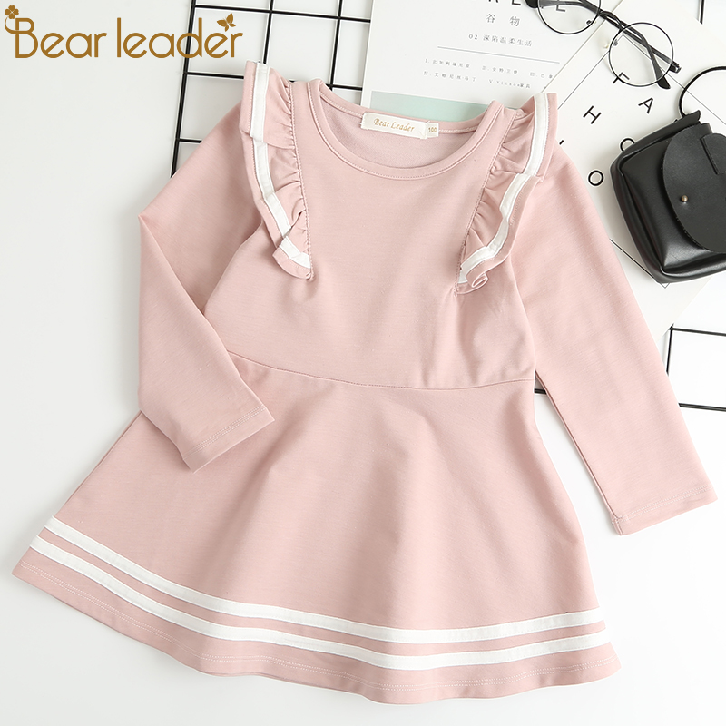 Bear Leader Autumn Long Sleeve Girls Dress New Casual Style Girls Clothes Cartoon Letter Pattern Printing Dress for Kids Clothes vintage style scoop neck printing long sleeve dress for women