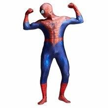 цена 3D Spider-man Homecoming Cosplay Costume Man Spandex Lycra Spiderman Zentai Suit with Mask Halloween Party Bodysuit в интернет-магазинах