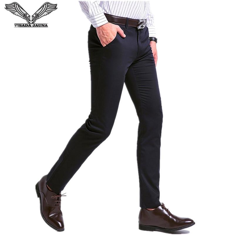 VISADA JAUNA 2017 Autumn Nueva Moda Para Hombre Pantalones Rectos Pantalones Casual Slim Fit Suit Business Straight Pants N5842