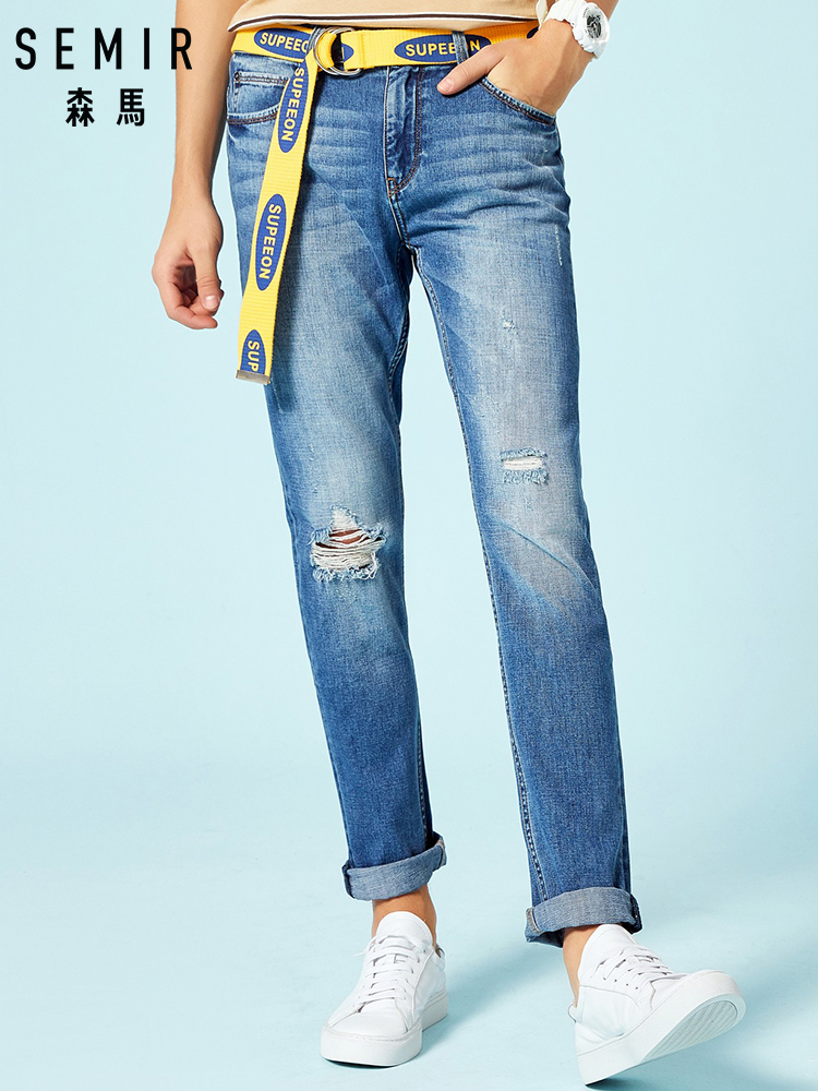 SEMIR Men's Trashed   Jeans   in 100% Cotton Straight Leg Mens   Jeans   with Destruction at Knee Male Slim Fit   Jeans   Washed Stylish