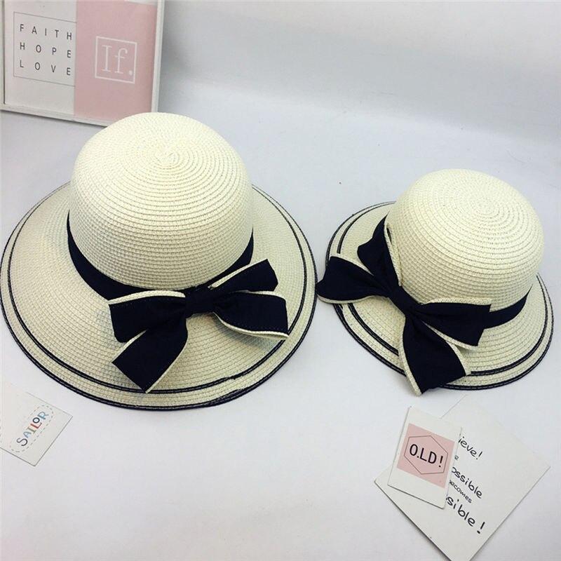 New Women Summer Parent-child Women Casual Daily Baby Kids Girl Beach Bow Straw Flat Brim Sun Hat Cap #4F09 (18)