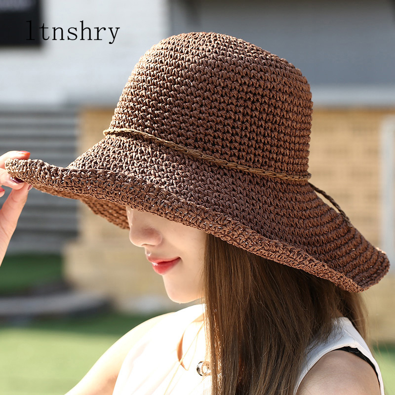 Summer Fashion Women Straw Hat Bow Lady Foldable Sun Hat Visor Cap Panama Style Bucket Cap Strawhat Beach Hat Girl Cap Outdoor