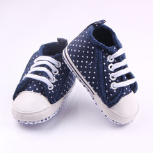 New Arrival Fashion Canvas Polka Dot Soft Sole Spring Autumn Kids Toddler Frewalk Shoes For 0-15M