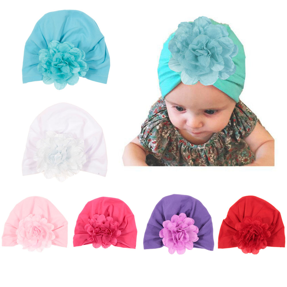 New Soft Baby Toddler Turban Hat With Flower Cotton Blend Newborn Caps Beanie Top Knot Infant Photo Props Kids Shower Gift
