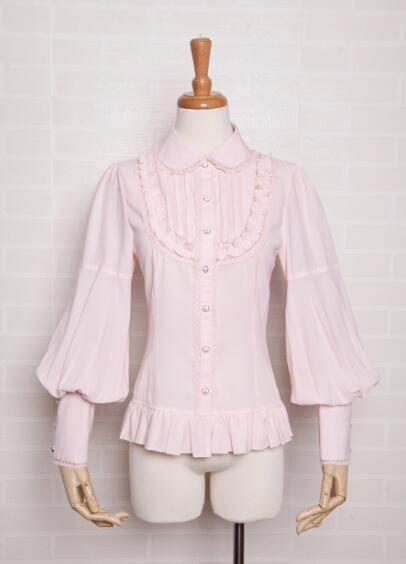 LOLITA Blouse automne style robe poupée en mousseline de soie dentelle mouton jambe manches longues chemises