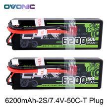 2X Ovonic LiPo батарея 6200 мАч В 7,4 В LiPo 2 s 50C-100C батарея пакет Жесткий Чехол для 1:10 1:8 размеры Bandit Emaxx Slash HPI RC автомобиль