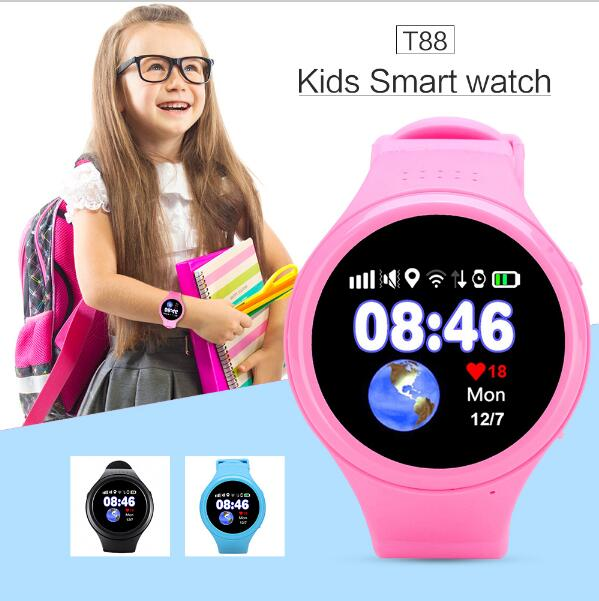 Slimy GPS Smart Watch Child Baby Watch T88 with Wifi SOS Call Location Device Tracker for Kids Old Man Safe Anti-Lost Monitor smart health baby watch gps tracker for kids safe sos call anti lost reminder fall down alarm geo fence 2017 child clock se11a