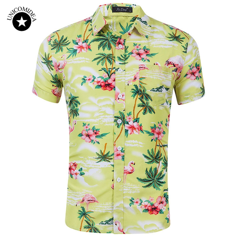 Mens Casual Flamingos Hawaiian Shirt Summer Brand Floral Print Short Sleeve Button Down Slim Mens Dress Shirts Plus Size