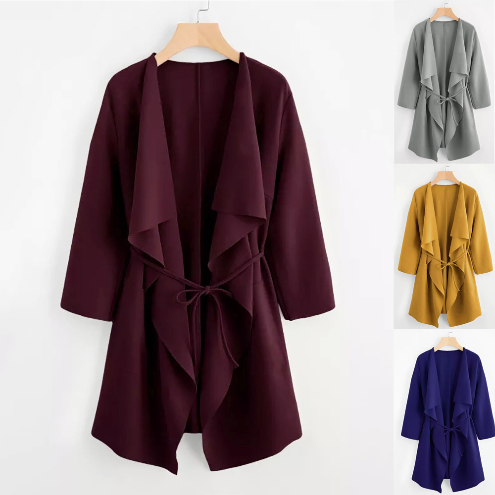 LNCDIS NEW HOT Fashion Autumn Ladies Women Casual Waterfall Collar Pocket Front Wrap Coat Full Long Jacket Outwear Freeship N4