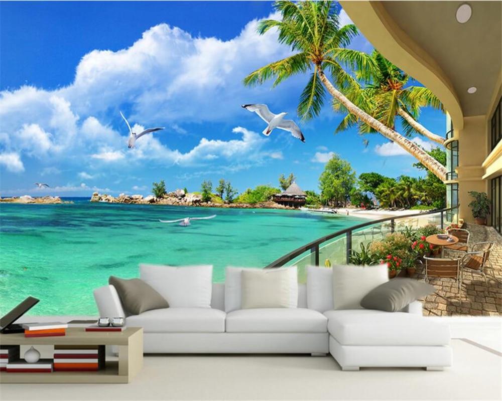 US $8.85 41% OFF|Beibehang Custom Tapete Wohnzimmer Schlafzimmer Wandbild  3D Tapete 3D Balkon Meer View TV Hintergrund Wand tapete für wände 3 d-in  ...