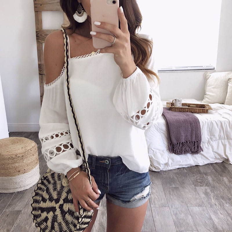 White blouses shirts cold shoulder sexy spaghetti strap   women Summer blusas shirts Top beach female clothing  WS9464Y