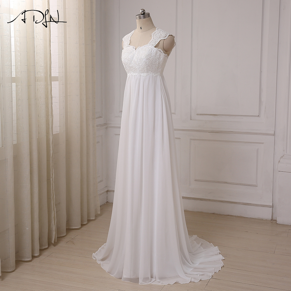 ADLN 2017 In Stock Chiffon Beach Wedding Dresses Vestido De Noiva Cap Sleeve Empire Lace-up Back Pregnant Bridal dress 6