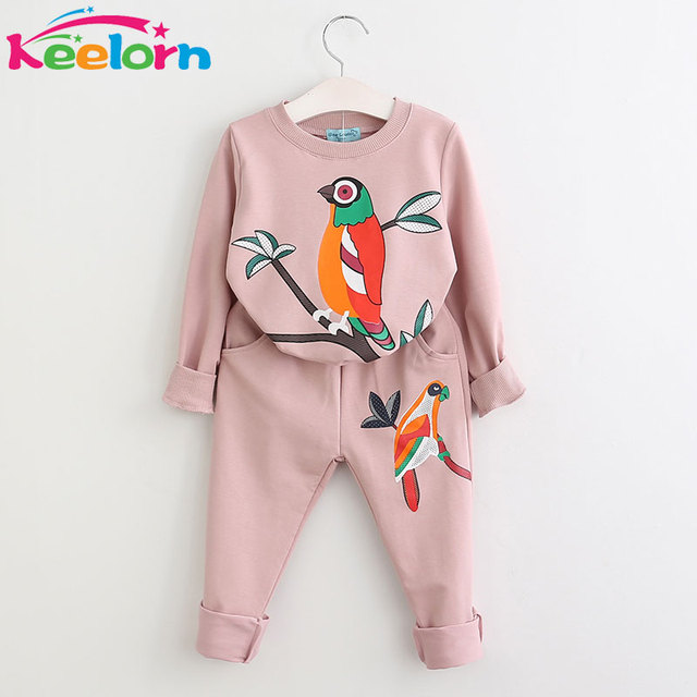 Keelorn Girls Clothing Sets 2017 New Fashion Girls Clothes Boys Clothing Sets Kids Clothes Cartoon Print Sweatshirts+Pants Suit