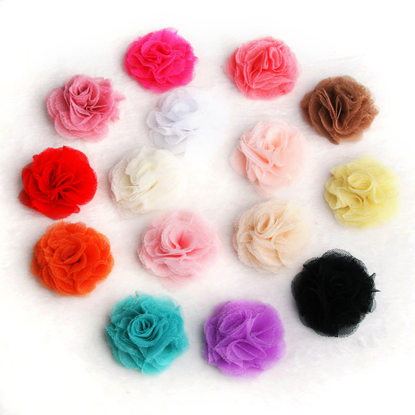 30pcs/lot 2.4 15colors Artificial Tulle Mesh Chiffon Flower For Gilrs Hair Accessories Handmade Fabric Flowers For Headbands 50pcs lot 4 1 17colors shabby lace mesh chiffon flower for kids girls hair accessories artificial fabric flowers for headbands