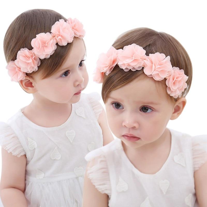 Newborn Baby Handmade DIY Headwear Hair Accessories for Children Newborn Toddler Baby Flower Headband Pink Ribbon
