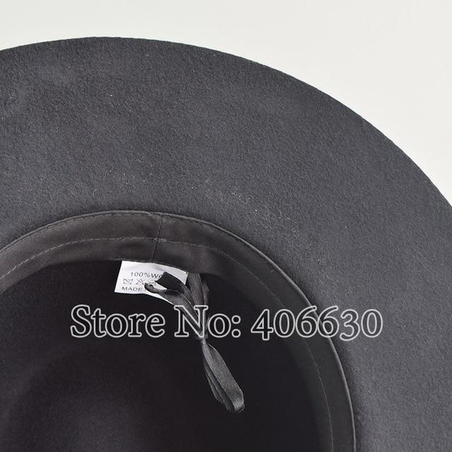 40ff550eb Winter Plain Wool Felt Fedora Hats Women Black Wide Brim Hat Felmale Free  Shipping SDDW093