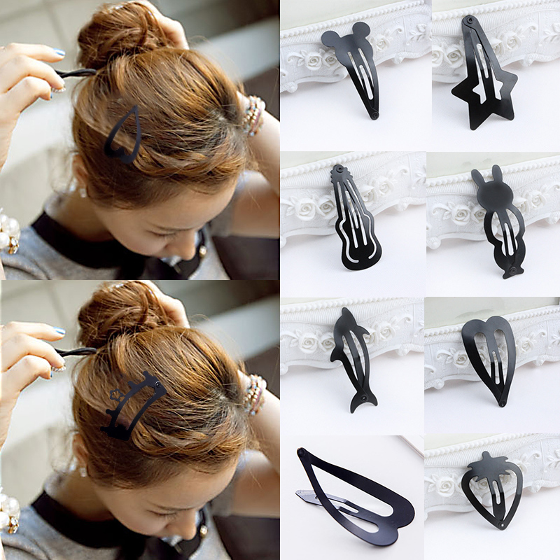 LNRRABC 2 Pcs Hot Sale Girls Kids Fashion Popular Black Hair Barrette Hairpin Hair Accessories 8 Styles