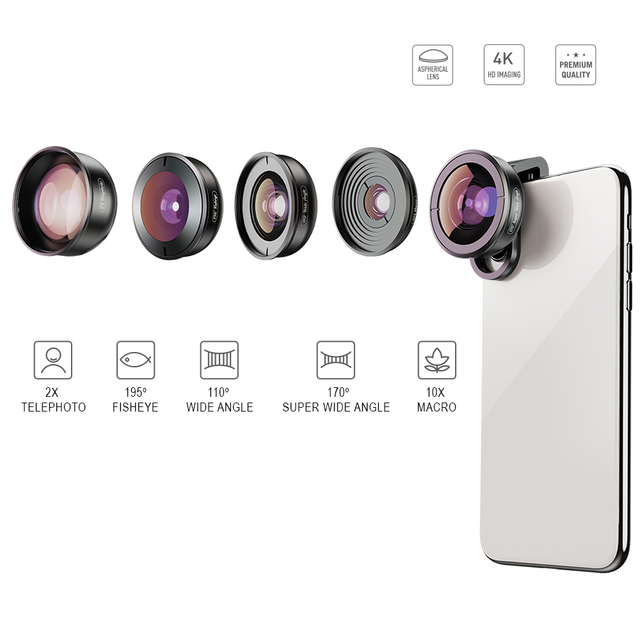 APEXEL HD 5 in 1 Camera Phone Lens 4K Wide macro lens portrait super Fisheye Lens CPL Filter for iPhone7 8 Samsung allsmartphone 1
