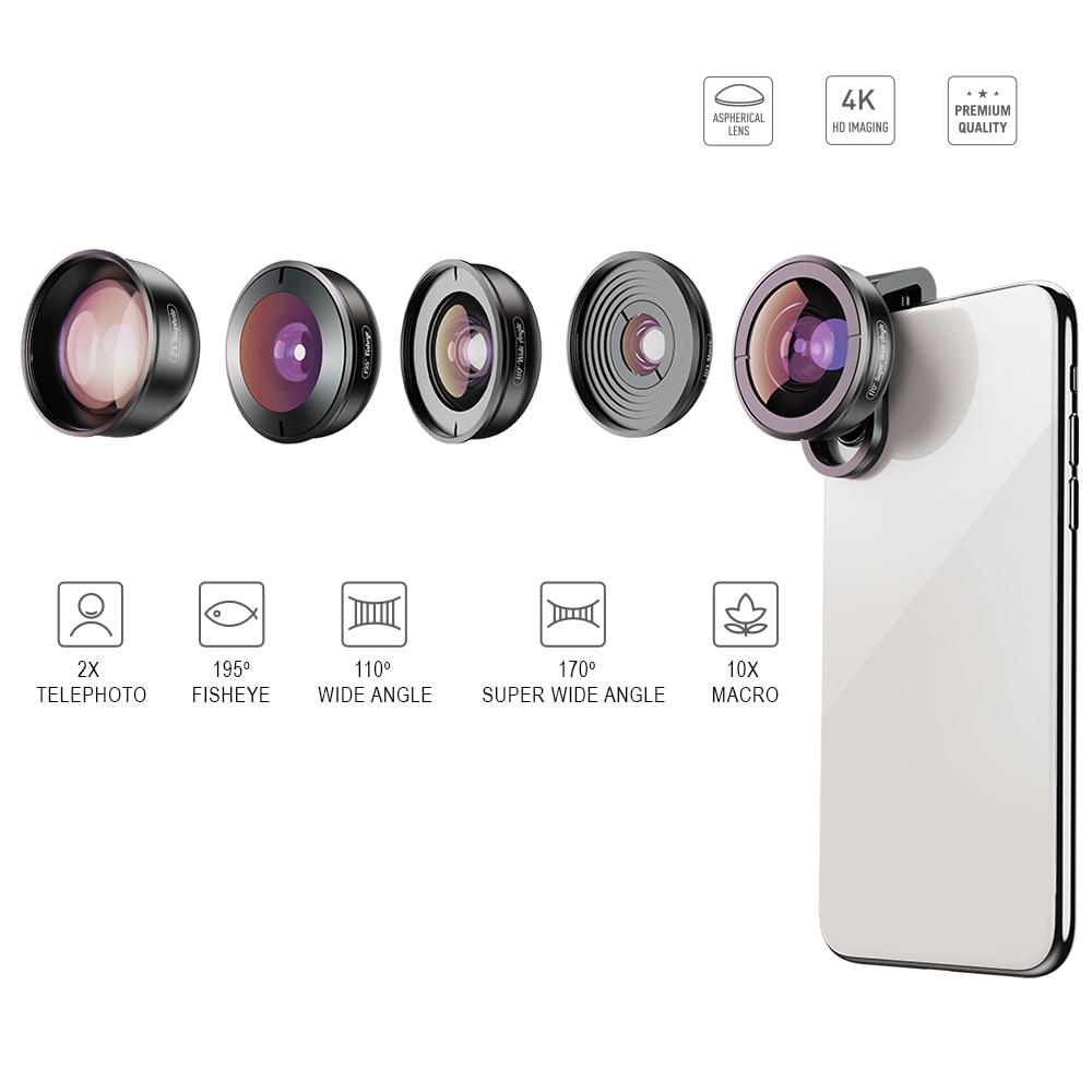 APEXEL HD 5 en 1 objectif de téléphone caméra 4 K objectif macro large portrait objectif super Fisheye filtre CPL pour iPhone7 8 Samsung allsmartphone - 2