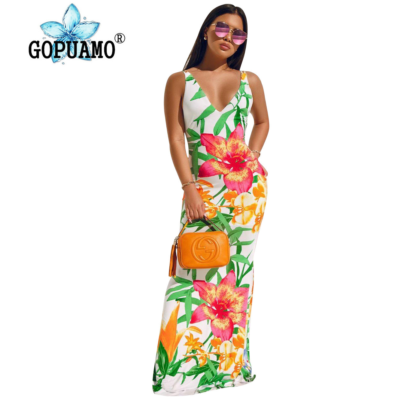 Floral Printed Summer Beach Boho Dress Women Deep V Neck Sleeveless Bodycon Long Dress Vintage High Waist Backless Party20190529