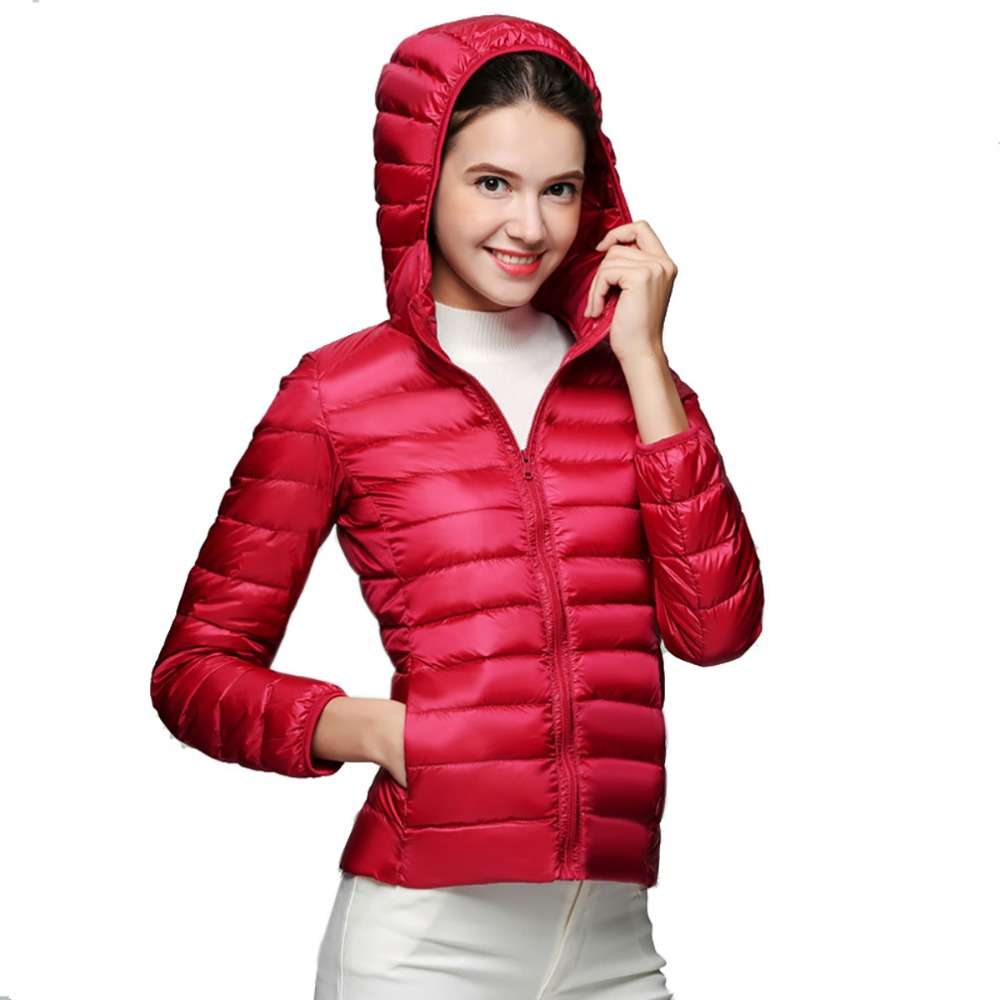 Winter Women Ultra Light   Down   Jacket 90% Duck   Down   Hooded Jackets Long Sleeve Warm Slim   Coat   Parka Female Outwear   Coats   Women