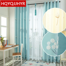 Modern pastoral embroidered cotton and linen shade bedroom curtains selling Korean-style window for living room kitchen