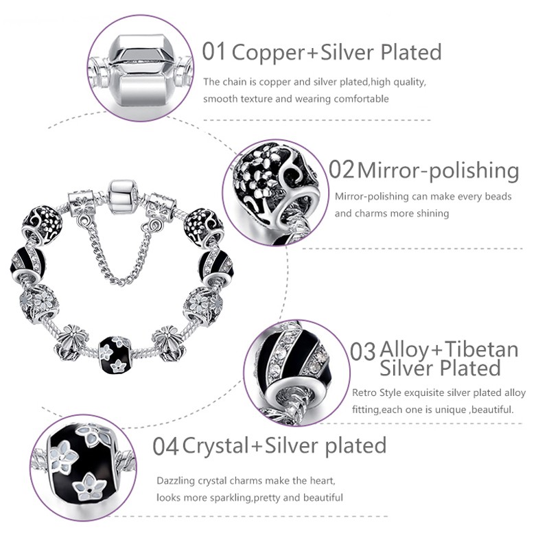 Autentiska 925 emalja sudraba kristāla pērlītes rokassprādze - Modes rotaslietas - Foto 2