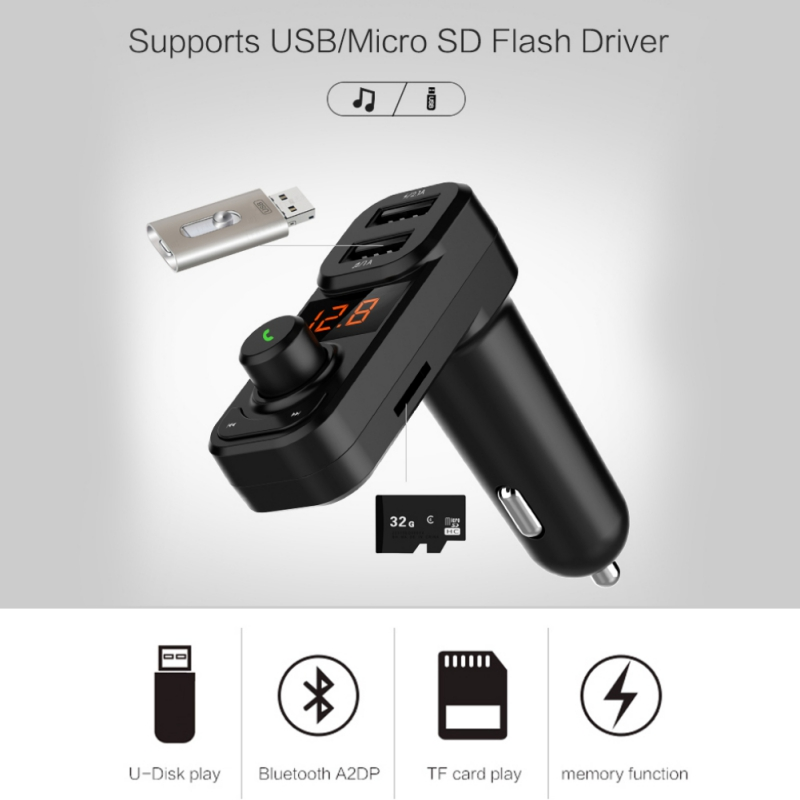 Portable Car MP3 Player Hands-free Call Bluetooth Wireless FM Transmitter Modulator Fast Charge Dual USB Car MP3