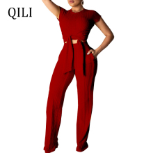 QILI Short Sleeve Two Piece Set Jumpsuits Pit Bandage Summer Women 2 Jumpsuit Wide Leg Long Pants Plus Size