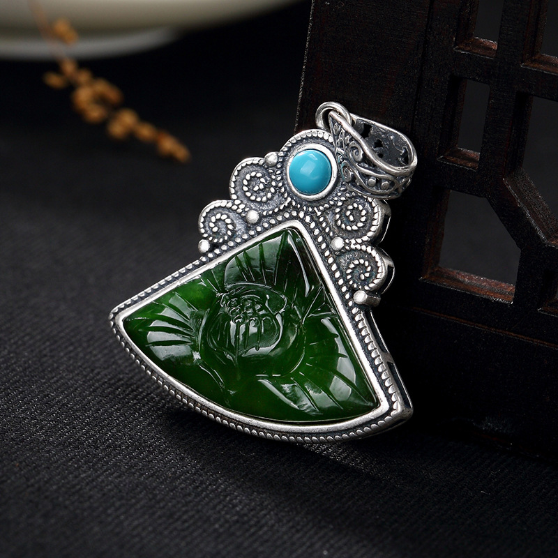 fine silver inlaid hetian jade turquoise lotus restoring ancient ways women wholesale high-grade sweater chain pendant цена 2017